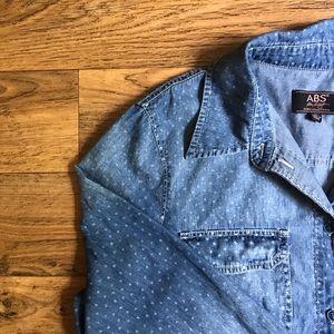 ABS Allen Schwartz All Over Star Denim Shirt Dress